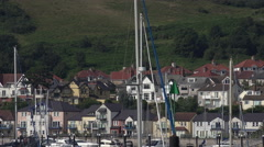 Zoom, boats and yachts, river conwy harbour north wales, uk Stock Footage