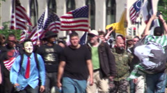 Militia Wing of Tea Party March on Washington - stock footage