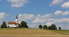 Solitary church in the countryside, bavaria, germany, europe Stock Photos