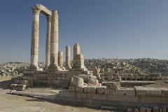 hercules temple on citadel hill in amman, the capital of the hashemite kingdo - stock photo