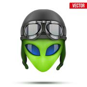Green Alien head in aviator helmet.. Vector. Stock Illustration