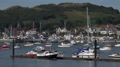 Pan, boats and yachts, river conwy harbour north wales, uk Stock Footage