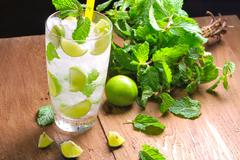 Stock Photo of mojito , lime pieces , leaves of mint with ice and rum