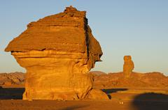 Stock Photo of morning light on bizarre rock formations in the acacus mountains, libya, nort