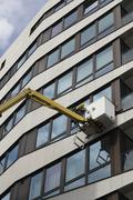 Stock Photo of work in progress on a facade, hafencity district, hamburg, germany, europe