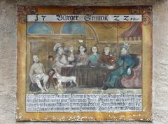 Stock Photo of mural painting on the old town hall, spitz, wachau, waldviertel, forest quart
