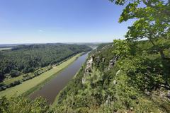 view of the elbe river with wartturm rock formation, bastei, elbsandsteingebi - stock photo