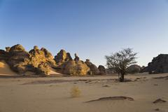 rock formations in the libyan desert, akakus mountains, libyan desert, libya, - stock photo
