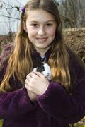 Girl, 10 years old, with a pet rabbit, bavaria, germany, europe Stock Photos
