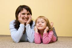 Mother with little girl, 36 and 3 years Stock Photos
