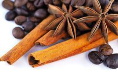 Anis, coffee and cinnamon Stock Photos