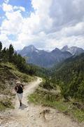 woman hiking, ascending plumsjoch mountain in the karwendel mountain range, r - stock photo