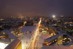 Night illumination of the city, potsdamer platz square, berlin, germany, euro Kuvituskuvat