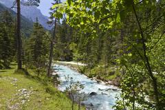 Upper isar river, biking tour to the origin of isar river, hinterautal, karwe Stock Photos