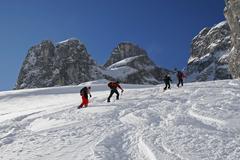 ski touring, drei tuerme range, raetikon, vorarlberg, austria, europe - stock photo