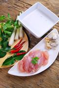 thai cuisine - tom kha kai - chicken in coconut milk soup - stock photo