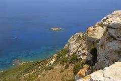 coast, cliffs, rocks, blue sea, view from mount moutti tis sotiras, baths of  - stock photo