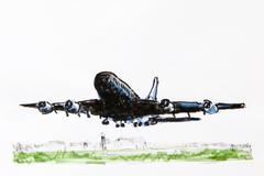 airbus a-380 airliner, drawing, artist gerhard kraus, kriftel, germany, europ - stock illustration