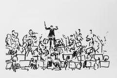 orchestra with conductor, drawing, artist gerhard kraus, kriftel, germany - stock illustration