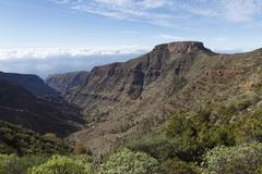 Barranco de erque canyon, table mountain fortaleza, la gomera island, canary  Stock Photos