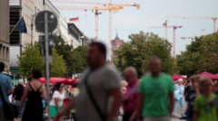 human masses in berlin - stock footage