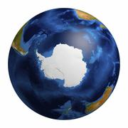 Stock Illustration of earth globe showing the antarctic region, 3d illustration