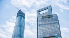 4k resolution Shanghai Tower and Shanghai World Financial Center - stock footage