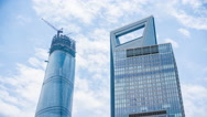 Stock Video Footage of 4k resolution Shanghai Tower and Shanghai World Financial Center