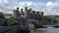 Stock Video Footage of conwy castle and river conway, north wales, uk