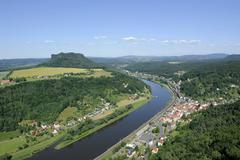 festung koenigstein fortress on the river elbe, overlooking the town of koeni - stock photo