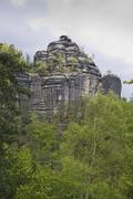 Rock formation on the goldsteig, saxon switzerland, elbsandsteingebirge elbe  Stock Photos