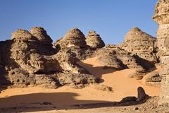 Rock formations in the libyan desert, wadi awis, akakus mountains, libya, nor Stock Photos
