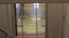 School stairs looking into empty hall dolly - stock footage