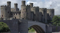 Stock Video Footage of zoom out, conwy castle and river conway, north wales, uk