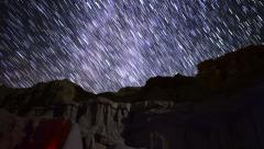 4K Milkyway Startrails 14 Dolly R and Zoom In Timelapse Red Rock Canyon Stock Footage