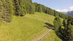 Bench with Mountain Panorama View - Aerial Flight Stock Footage