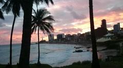Sunset at Salvador of Bahia - stock footage
