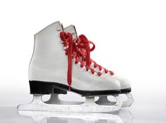 Ice skates with red laces Stock Photos