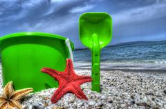 Bucket and shovel in hdr Stock Photos