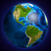 Stock Illustration of earth globe showing south and north american continents, 3d illustration