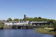 bridges across the newport river, newport, county mayo, connacht province, re - stock photo