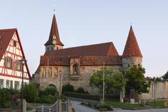 Kirchenburg st. georg fortified church in effeltrich, upper franconia, franco Stock Photos