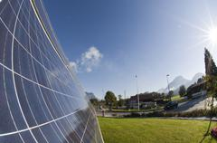 solar panels a the roundabout island, ost district, woergl, tyrol, austria, e - stock photo
