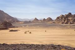 rock formations in the libyan desert, wadi awis, akakus mountains, libyan des - stock photo