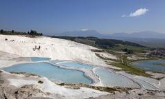 Calcium formations of pamukkale, unesco world heritage site, turkey Stock Photos