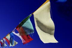 prayer flags at namsche basar, khumbu, sagarmatha national park, nepal, asia - stock photo