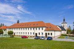 educational institution and chateau, strilky, kromeriz district, zlin region, - stock photo