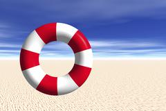 Life buoy standing upright on beach, 3d graphics Piirros
