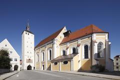 Unteres tor gate, church of the annunciation, jesuit church, mindelheim, unte Stock Photos