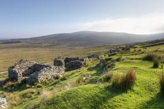 deserted village of slievemore, achill island, county mayo, connacht province - stock photo